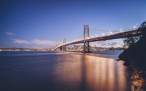Picture bridge, the city, Strait, river, California, San Francisco, golden gate bridge, USА