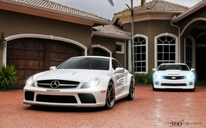 Picture white, house, lights, Mercedes-Benz, Chevrolet, Mercedes, Camaro, Chevrolet, Camaro, 360, AMG, the front, and, Muscle …