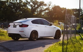 Picture white, bmw, BMW, shadow, the fence, white, rear view, crossover, x6m, e71