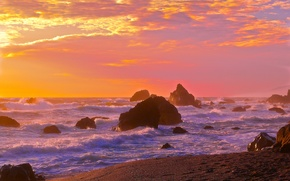 Picture sea, wave, the sky, sunset, rocks, shore, horizon