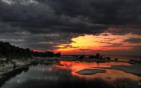 Wallpaper Sunset, Panorama, Clouds