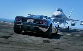 Picture machine, the ocean, black, McLaren, fighter, back, supercar, 1993, GTA 5