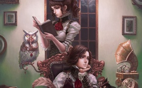 Wallpaper guy, owl, steampunk, book, girl, gramophone, cat, pictures