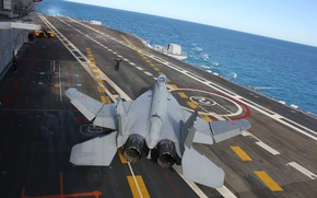 Picture the carrier, MiG-29 KUB, MiG-29KUB, folding wings, taxiing on vzletke