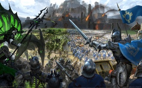 Picture castle, fantasy, warriors, troops, game wallpapers, siege, Might & Magic Heroes Online, HOMM