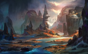 Picture river, rocks, twilight, art, structure, painted landscape