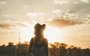 Picture girl, the sun, sunset, hat