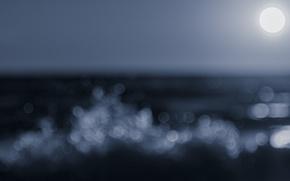 Picture waves, moon, sea, ocean, moonlight