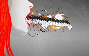 Wallpaper figure, girl, music