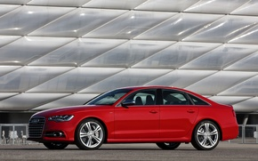 Picture Audi, Red, Auto, Sedan, Side view