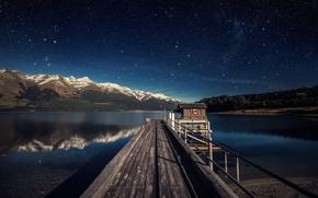 Picture the sky, stars, mountains, lake, New Zealand, Lake Wakatipu, South Island, inland lake, Pris