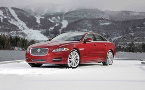 Picture Jaguar, Red, Winter, Snow, Car, The front