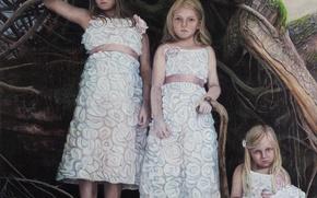 Picture children, girls, picture, Sun Cult-2, Norwegian artist, Christer Karlstad
