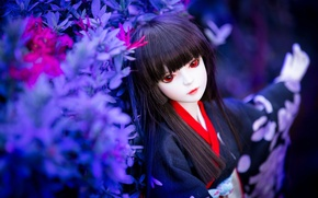 Picture vegetation, toy, doll, brunette, geisha, red eyes
