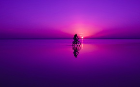 Picture dream, sunset, reflection, Bike, Turkey, Cappadocia