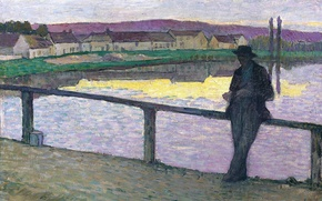 Picture landscape, bridge, home, picture, the evening, male, Henri Lebacq, Young Man in front of the ...