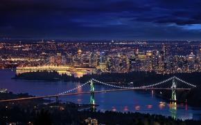 Picture night, bridge, Canada, Vancouver, Canada, Downtown, Bridges