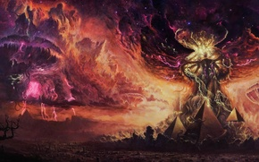 Picture the explosion, fantasy, art, pyramid
