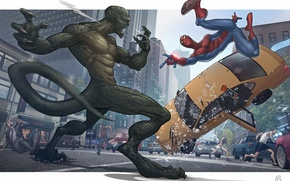 Picture the city, people, spider-man, fight, lizard, taxi, Patrick brown, The Amazing Spider-man