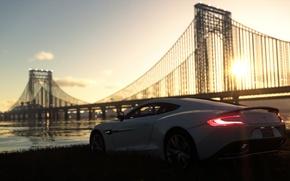 Picture sea, white, sunset, bridge, aston martin, on the shore, The Crew