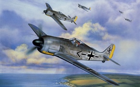 Picture war, art, painting, aviation, Fw 190, ww2, german fighter