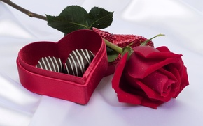 Picture rose, candy, red, heart, box