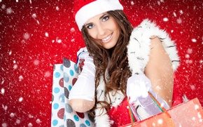 Picture girl, snow, new year, gifts, Winter female