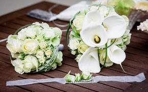 Picture white, roses, bouquet, tape, Board, white, wedding, Roses, decor, wedding, Calla lilies, Bouquets