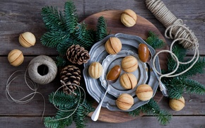 Picture branches, tangle, Board, spruce, plates, tree, bumps, cakes, spoon