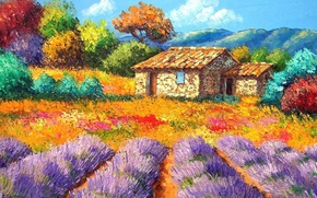 Wallpaper flowers, picture, the sky, mountains, garden, trees, yard, house, flowerbed, landscape