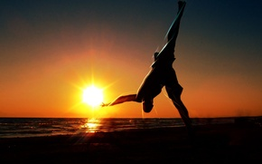 Picture the sun, sunset, nature, Wallpaper, gymnastics