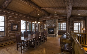 Picture log, luxury, blue sky lodge, dinner room, home, wooden