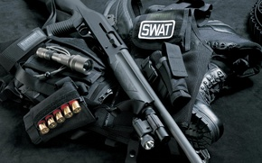 Wallpaper weapons, shotgun, swat, Vest