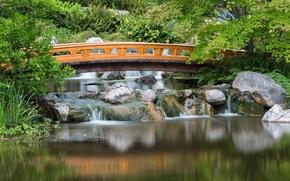 Picture bridge, stones, Austria, cascade, Japanese garden, Austria, Japanese Garden, Vienna, Vienna, Setagaya Park