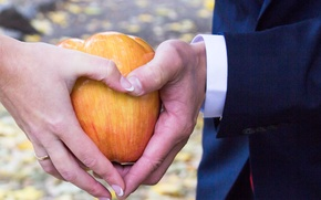 Picture autumn, background, woman, Apple, hand, ring, male, wedding
