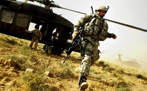 Picture Weapons, optical sight, Helicopter, M4A1, US soldiers