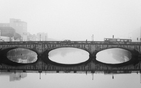 Picture bridge, Ireland, cityscape, foggy, Cork, everyday life, urban scene, River Lee