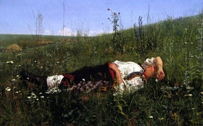 Picture grass, girl, flowers, nature, picture, dreams, painting, in celebration, Kuznetsov Nikolay