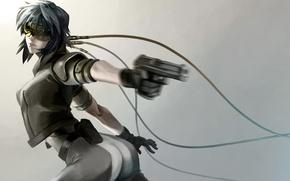 Picture girl, gun, weapons, movement, wire, art, glasses, ghost in the shell, kusanagi automotive, pekepeke0
