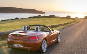 Picture road, sea, car, machine, the sun, landscape, sunset, machine, BMW, Roadster, BMW, cars, red, Roadster, ...