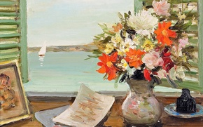 Picture flowers, boat, picture, window, sail, vase, Marseille Dif, Open shutters