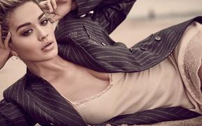 Picture pose, model, makeup, negligee, hairstyle, lies, singer, jacket, on the sand, photoshoot, Rita Ora, Rita …