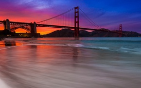 Picture the sky, clouds, sunset, mountains, bridge, Bay, glow, San Francisco, Golden Gate, USA