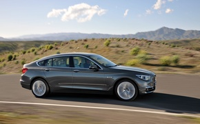 Picture road, speed, sunlight, BMW 5 Series Gran Turismo (2014)