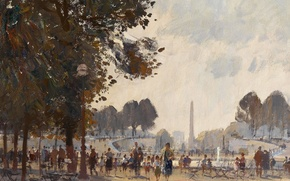 Picture picture, the urban landscape, Evening. The Tuileries Garden. Paris, Edward Seago