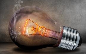 Picture glass, light bulb, light, smoke, lamp, broken, electricity, the filament, tungsten, base