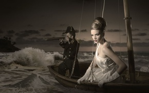 Picture wave, boat, dress