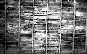 Picture wall, wood, bricks, pattern