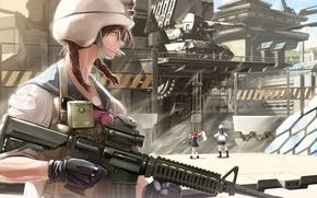 Picture girls, art, glasses, base, machine, form, helmet, military