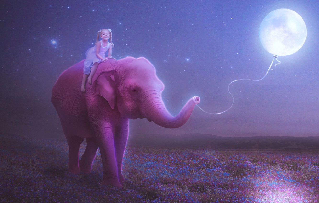 Photo wallpaper the sky, stars, happiness, flowers, night, smile, mood, pink, the moon, figure, elephant, child, ball, …